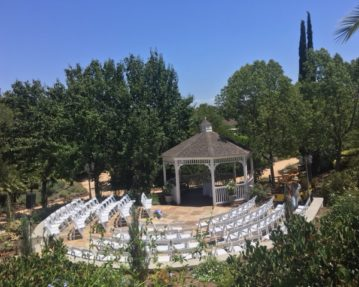 Gazebo with Flagstone and chairs